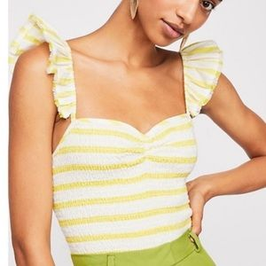Free People Striped Hyde Smocked Crop Top